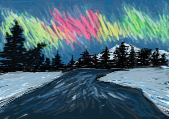 Как нарисовать северное сияние карандашами поэтапно 56